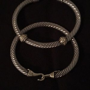 David Yurman silver with 14 karat gold bracelets